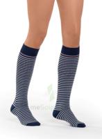 Sigvaris Styles Motifs Mariniere Chaussettes  Femme Classe 2 Marine Blanc Xsmall Normal à Pradines